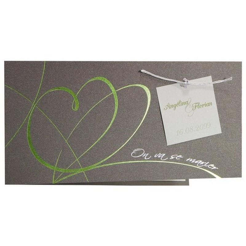 faire part mariage gris coeurs vert argenture r galb jr5013. Black Bedroom Furniture Sets. Home Design Ideas