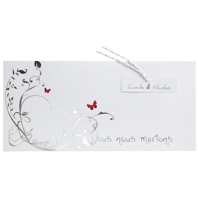 faire part mariage blanc argenture papillons rouge r galb jh3232. Black Bedroom Furniture Sets. Home Design Ideas
