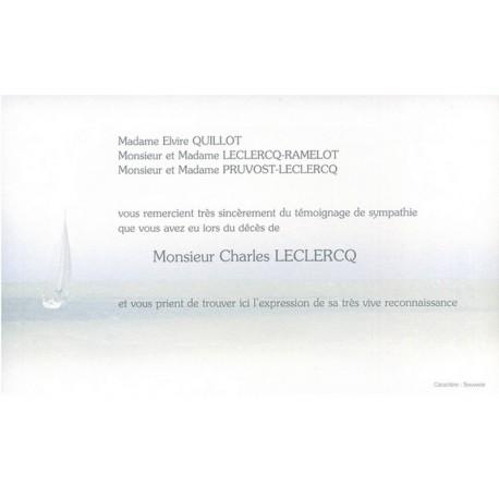 Carte de remerciement décés, deuil, funérailles, condoléances, obsèques DECORTE 6494