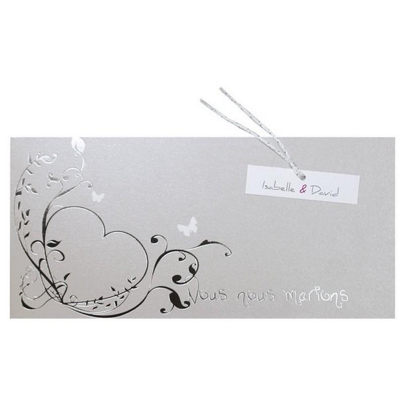 faire part mariage gris coeur argenture papillons r galb jp3207. Black Bedroom Furniture Sets. Home Design Ideas