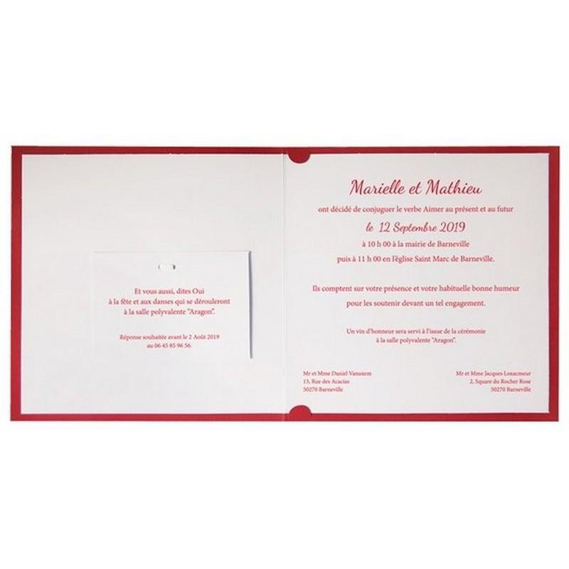 faire part mariage rouge esperluette vernis r galb jp3208. Black Bedroom Furniture Sets. Home Design Ideas