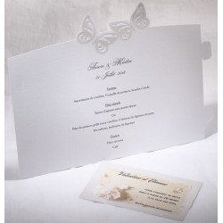 Menu mariage photophore blanc papillons nacre Faire Part Select Duo 19502