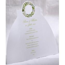 Menu mariage blanc couronne feuilles vertes Faire Part Select Duo 19503