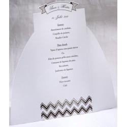 Menu mariage blanc vintage noir taupe Faire Part Select Duo 19504