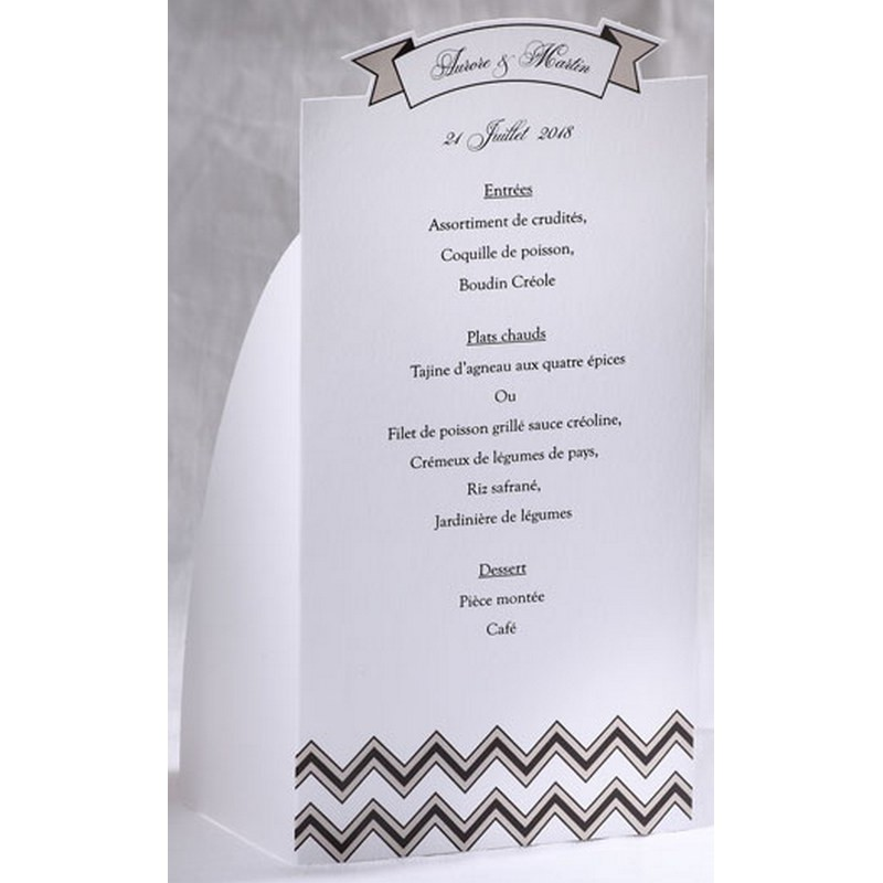 Menu mariage blanc vintage noir taupe faire part select for Idee de menu original