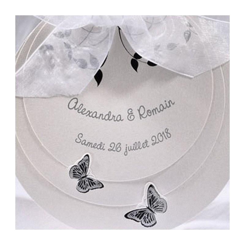 faire part mariage blanc rond mousseline papillon argent fps duo 49259. Black Bedroom Furniture Sets. Home Design Ideas