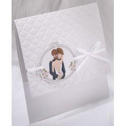 Faire-part mariage blanc pochette mariés ruban Faire Part Select Duo 49501