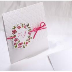 Faire-part mariage blanc fleurs lacet fuchsia Faire Part Select Duo 49503