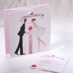 Faire-part mariage mariés blanc rose chic Faire Part Select Duo 49509