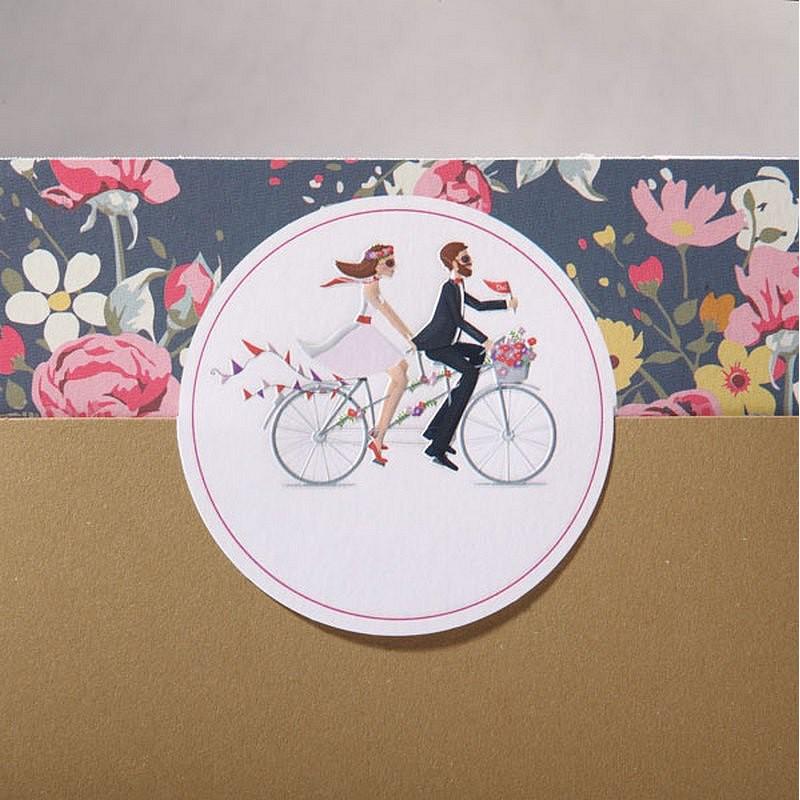 Exceptionnel part mariage multicolore mariés vélo fleurs Faire Part Select Duo  BX25