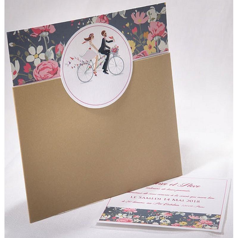 Extrêmement part mariage multicolore mariés vélo fleurs Faire Part Select Duo  IO54