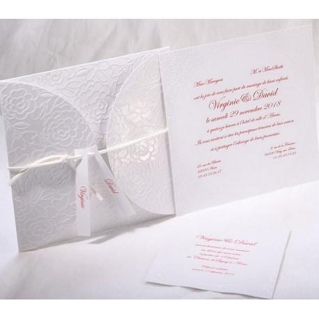 faire part mariage chic pochette blanc arabesque faire part select duo 49516. Black Bedroom Furniture Sets. Home Design Ideas