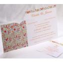 Faire-part mariage vintage fleurs multicolore pochette Faire Part Select Duo 49529