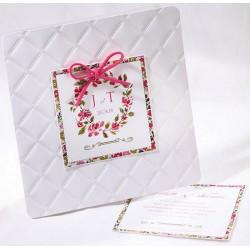 Faire-part mariage chic blanc fleurs roses Faire Part Select Duo 49536