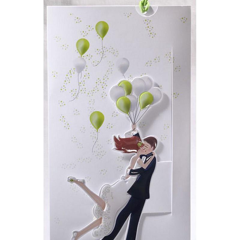 Préférence part mariage original mariés ballons blanc vert Faire Part Select  IS39