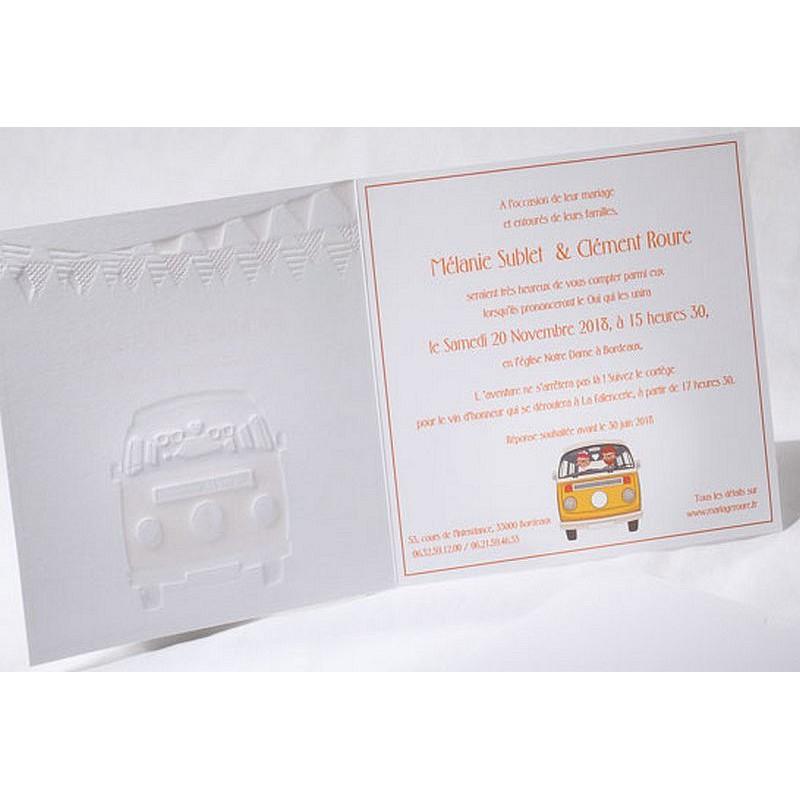 Exceptionnel part mariage original vintage combi orange Faire Part Select Duo 49542 XQ96