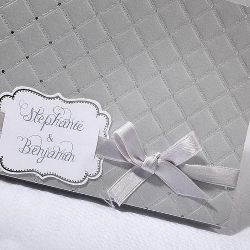 faire part mariage gris matelass argent faire part select. Black Bedroom Furniture Sets. Home Design Ideas