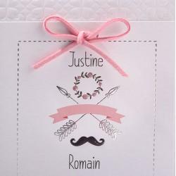 Faire-part mariage vintage blanc flèches argent Faire Part Select Duo 49557