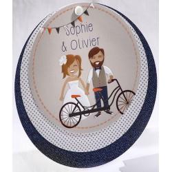 Faire-part mariage vintage mariés vélo disque Faire Part Select Duo 49561