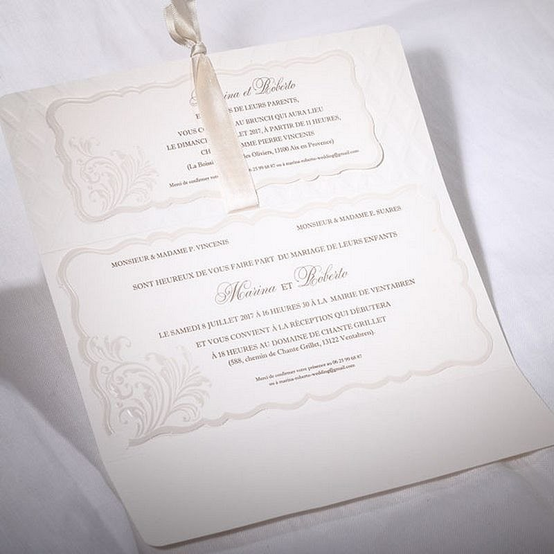 Fabuleux part mariage classique chic dorure crème Faire Part Select Duo 49563 GF69