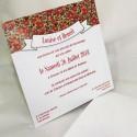 Faire-part mariage pochette blanc fleur rouge Faire Part Select Duo 49565