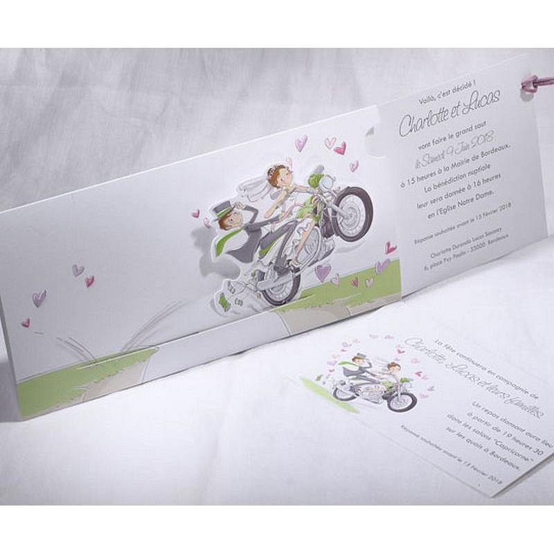 Bien connu part mariage mariés moto coulissant Faire Part Select Duo 49569 TU72