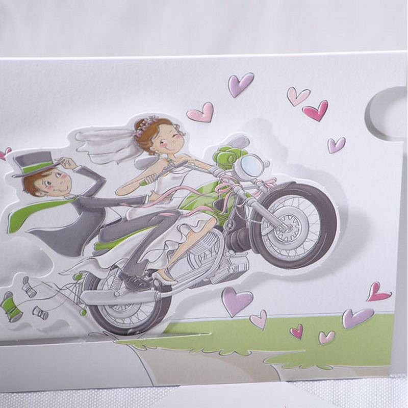 faire part mariage humoristique moto