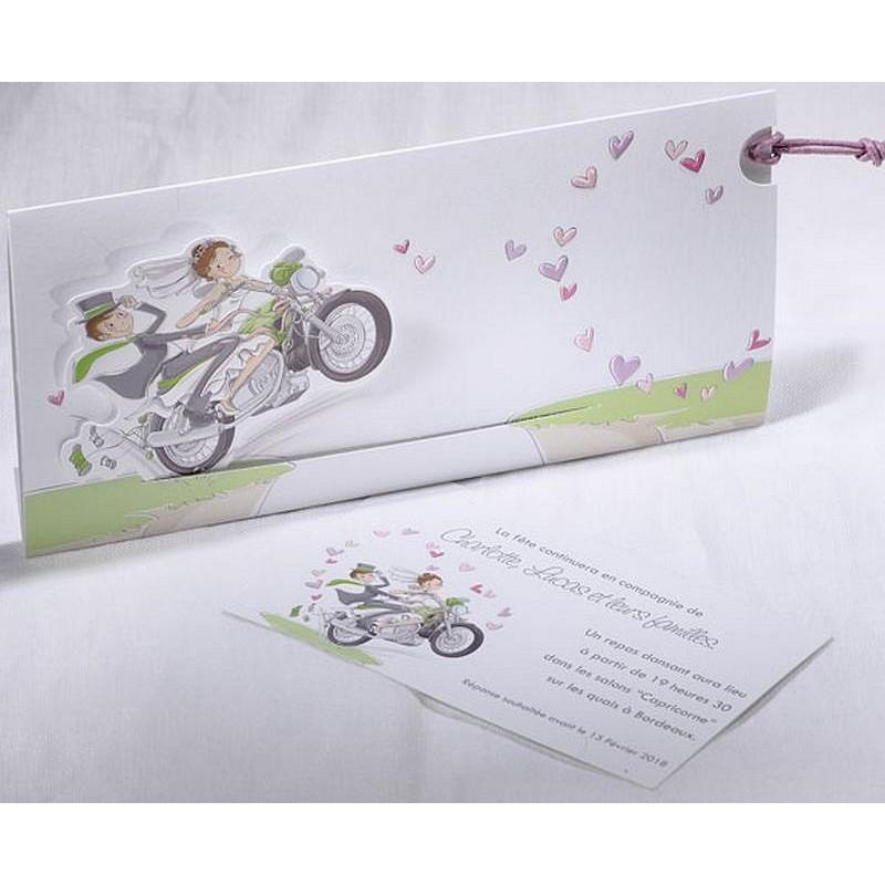 faire part mariage mari s moto coulissant faire part select duo 49569