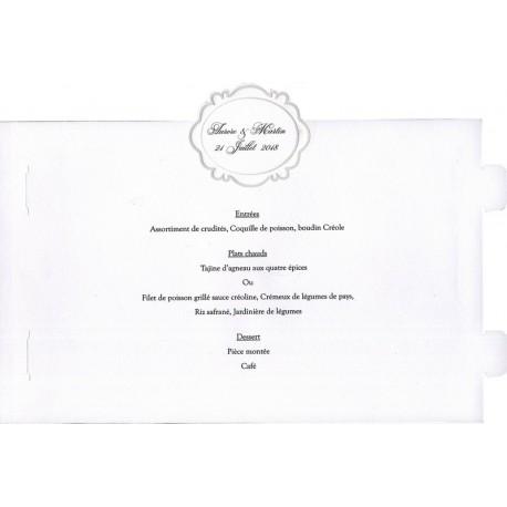 Menu mariage photophore blanc arabesque nacre Faire Part Select Duo 19501