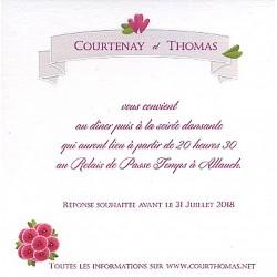 Carte lunch remerciements romantique blanc fleurs roses Faire Part Select Duo 59509