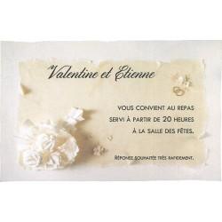 Carte lunch remerciements romantique crème fleurs Faire Part Select Duo 59564