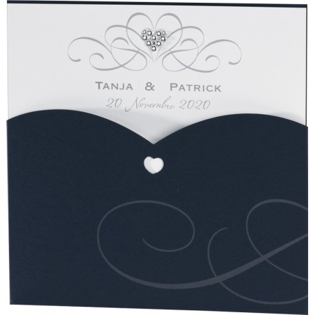Faire-part mariage chic pochette bleu marine coeur strass - Buromac Exclusivité 2016 - 106.003
