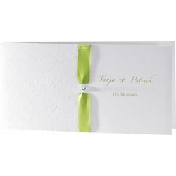 Faire-part mariage classique chic arabesque ruban vert - Buromac Exclusivité 2016 - 106.010