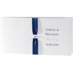 Faire-part mariage chic arabesque ruban bleu strass - Buromac Exclusivité 2016 - 106.012
