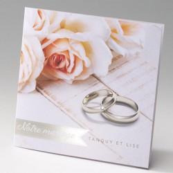 faire part mariage romantique chic rose alliances strass - Belarto Bella 725084-W