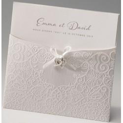Faire part mariage élégant pochette crème irisé encre de Suède Belarto Love 726901
