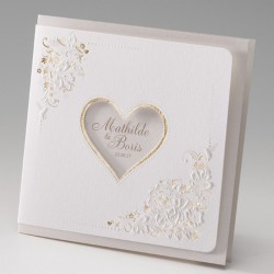 faire part mariage élégant crème dorure gaufrage coeur - Belarto Bella 725016-W
