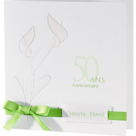 Faire-part mariage original fleur nacre ruban vert - Buromac Exclusivité 2016 - 106.127