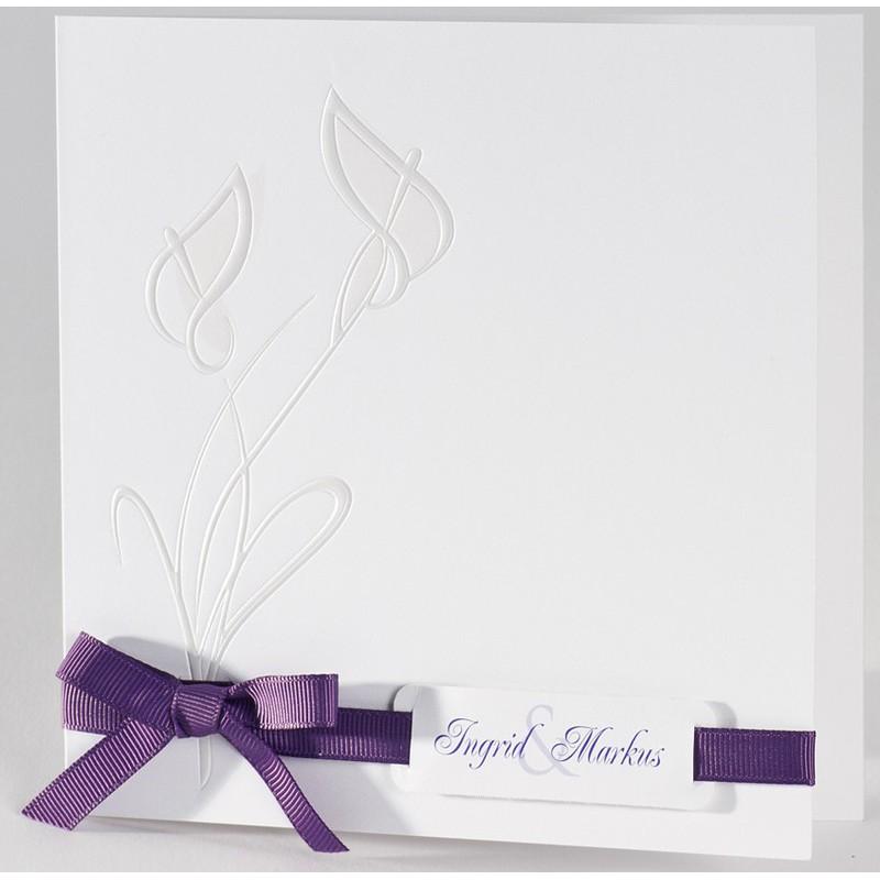 faire part mariage original fleur nacre ruban violet buromac 106128. Black Bedroom Furniture Sets. Home Design Ideas