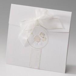 faire part mariage chic crème dorure gaufrage fleurs - Belarto Bella 725043-W