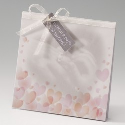 faire part mariage chic crème coeurs roses - Belarto Bella 725007-W
