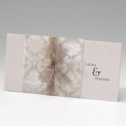 faire part mariage classique vintage arabesque mousseline bronze - Belarto Bella 725002-W