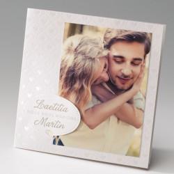 faire part mariage romantique crème coeurs nacre - Belarto Bella 725015-W