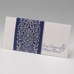 faire part mariage chic crème arabesques bleu nuit - Belarto Bella 725098-W