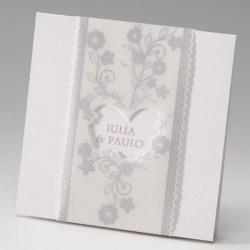 faire part mariage classique crème fleurs coeur - Belarto Bella 725101-W