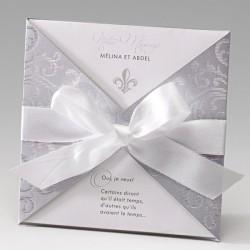 Faire part mariage glamour irisé gris arabesque ruban BELARTO Bella 725902-W