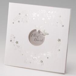faire part mariage classique crème fleurs papillons - Belarto Bella 725008-W