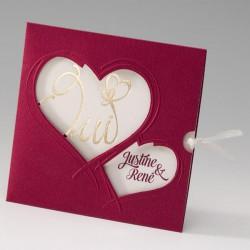 faire part mariage original crème bordeaux coeurs - Belarto Bella 725056-W