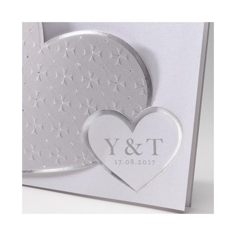faire part mariage chic coeur blanc argent gris belarto bella 725117. Black Bedroom Furniture Sets. Home Design Ideas