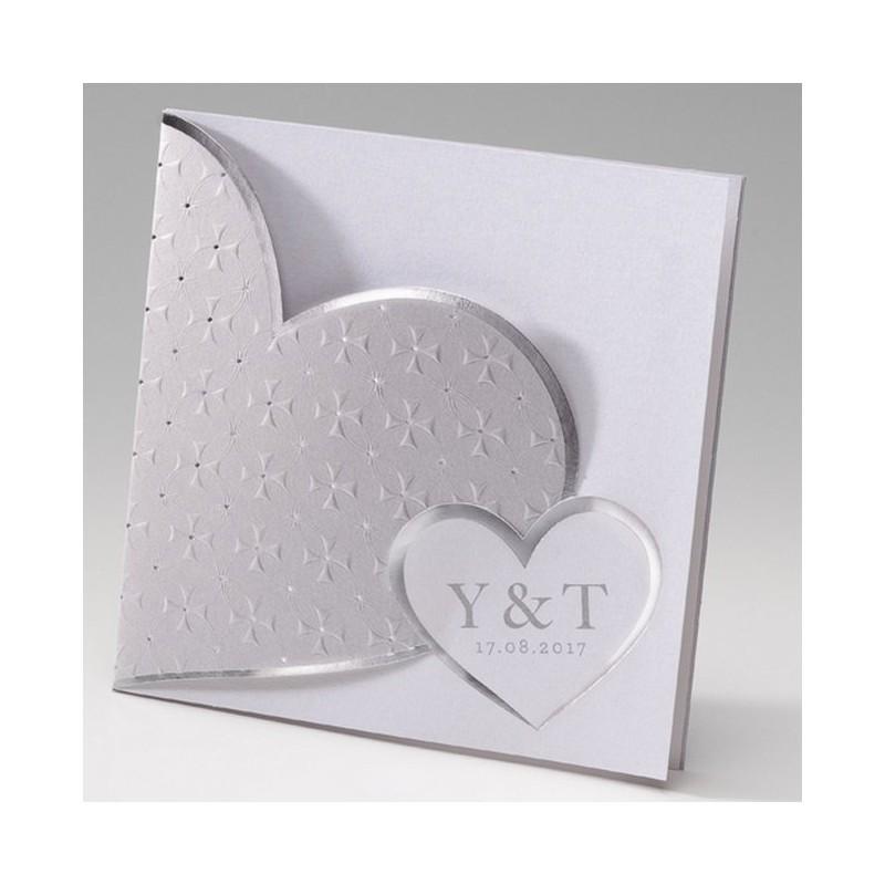 Favori faire part mariage chic coeur blanc argent gris Belarto Bella 725117 OX16